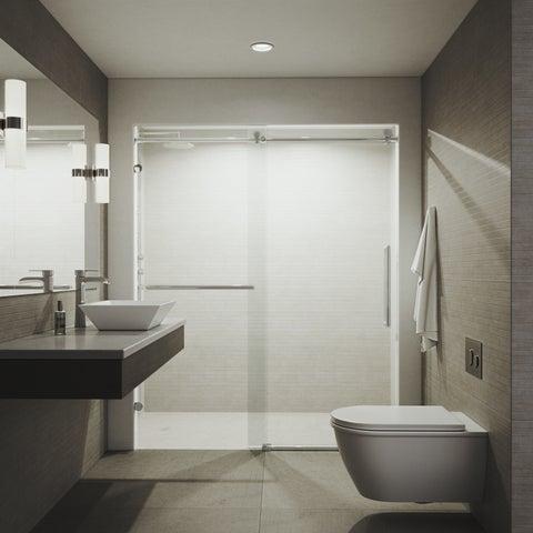 VIGO Ferrara Chrome 72x74-inch Adjustable Frameless Sliding Shower Door