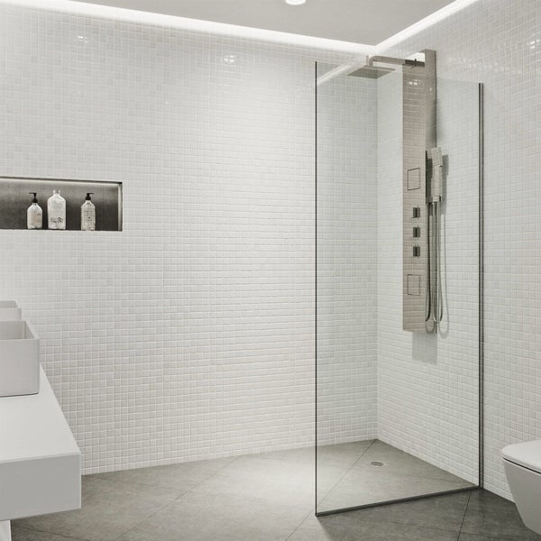 Vigo Zenith Stainless Steel 34x74 Inch Frameless Fixed Gl Panel Shower Screen