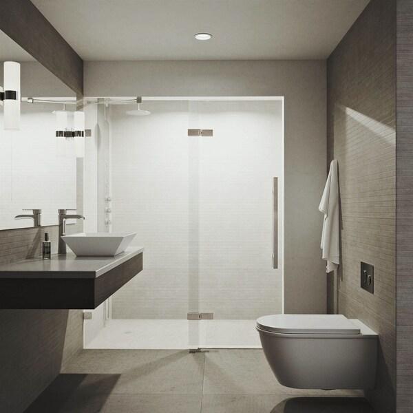 VIGO Rochelle 60-inch Adjustable Frameless Hinged Shower Door