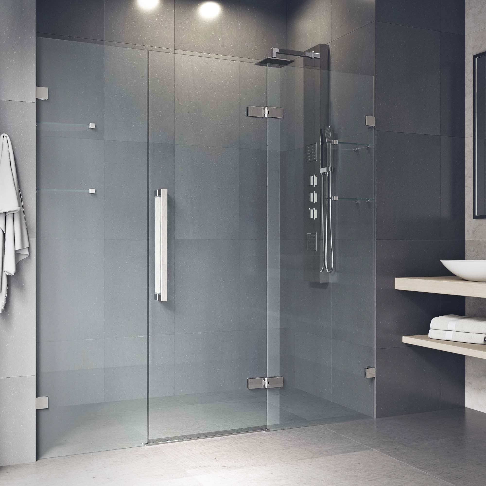 Vigo Seneca Clear 72 Inch Adjustable Frameless Hinged Shower Door