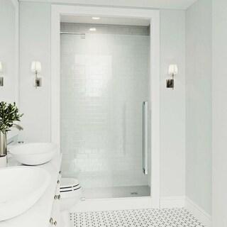 VIGO Cameo Chrome 42x74-inch Adjustable Frameless Pivot Shower Door
