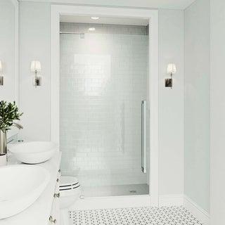 VIGO Cameo Clear 36-inch Adjustable Frameless Pivot Shower Door