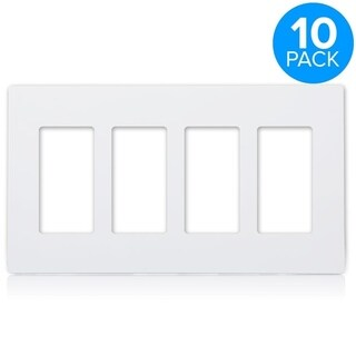 Maxxima 4 Gang Decorative Screwless Wall Plate, White (Pack of 10)