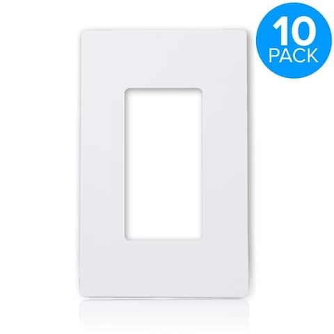 Maxxima 1 Gang Decorative Screwless Wall Plate, White (Pack of 10)