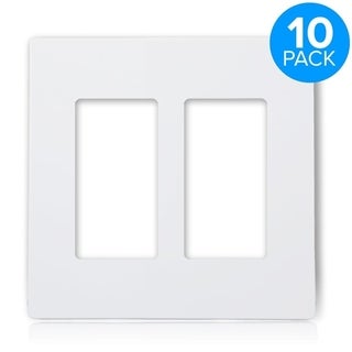 Maxxima 2 Gang Decorative Screwless Wall Plate, White (Pack of 10)