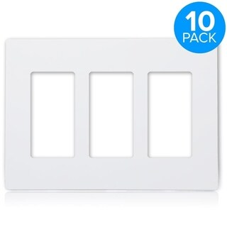 Maxxima 3 Gang Decorative Screwless Wall Plate, White (Pack of 10)