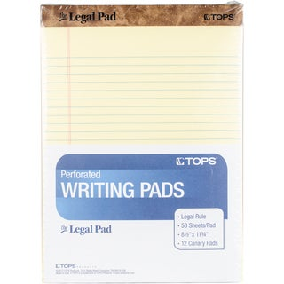 "TOPS Legal Pad Wide Rule 8.5""X11.75"" 50 Sheets 12/Pkg"
