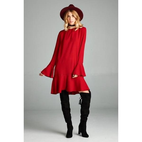 JED Women's Bell Sleeve Woven Flared Short Dress. Opens flyout.