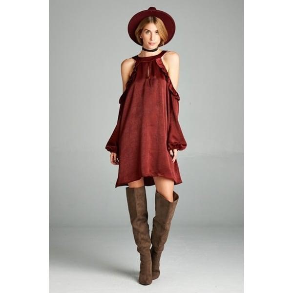 JED Women's Cold Shoulder Satin Short Dress. Opens flyout.