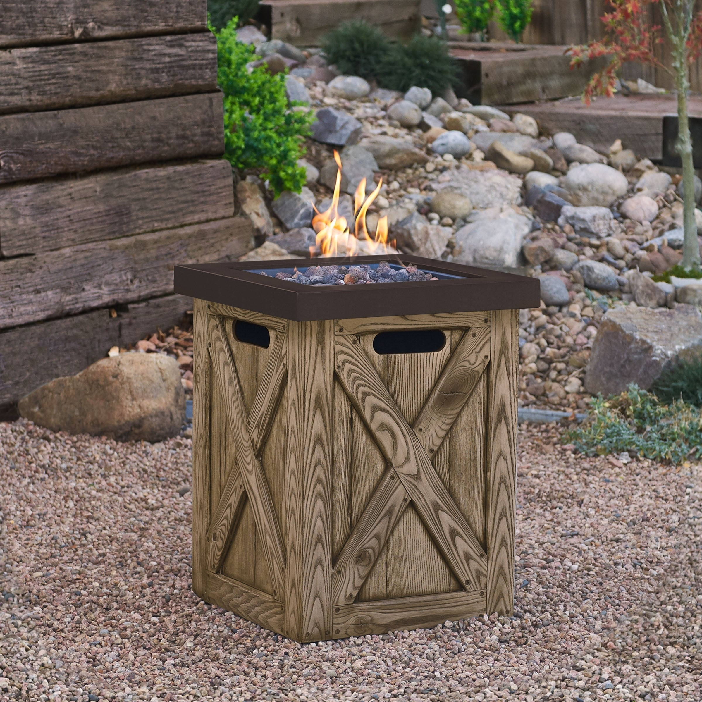 Shop Farmhouse Propane Fire Column Rustic Pine By Real Flame Overstock 20771379