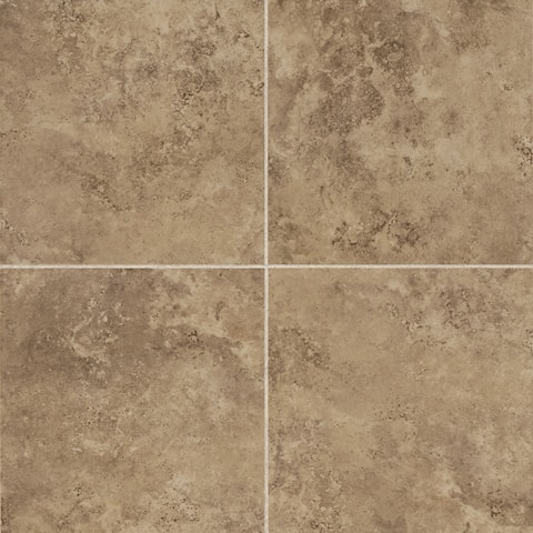 Glazed Porcelain 13x13-inch Stone Look Field Tile in Noce - 13x13