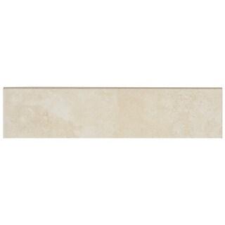 Glazed Porcelain 3x13-inch Stone Look Field Bullnose in Crema - 3x13