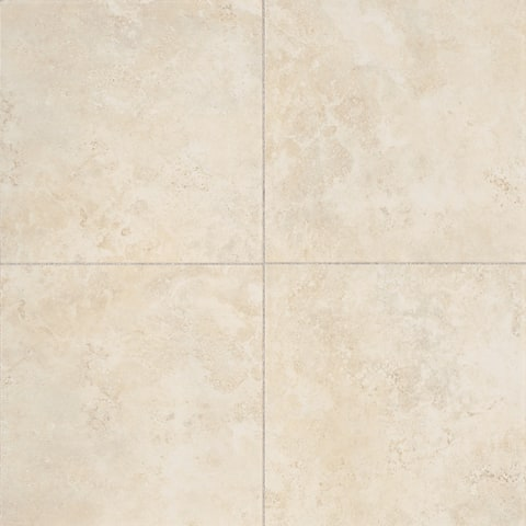 Glazed Porcelain 13x13-inch Stone Look Field Tile in Crema