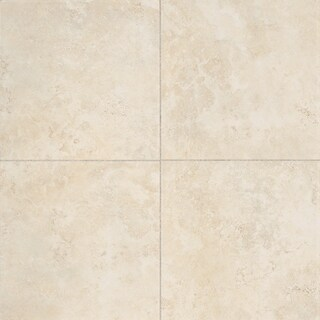 Glazed Porcelain 13x13-inch Stone Look Field Tile in Crema - 13x13