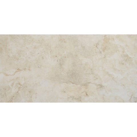Stone Visual 12x24-inch Glazed Porcelain Floor Tile in Terrace Beige - 12x24