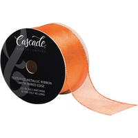 "Cascade Textured Metallic Ribbon W/ Wired Edge 2-1/2""X15yd"