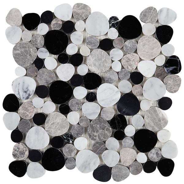 Decorative Accent 12x12-inch Tile in Black Pebble - 12x12