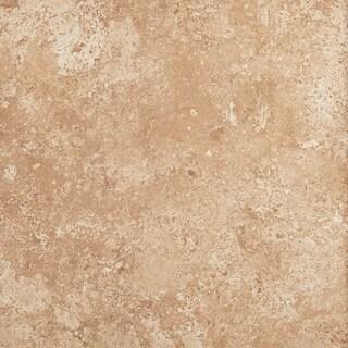 Travertine Replica 12x12-inch Ceramic Floor Tile in Truffle Ceramic Field - 12x12
