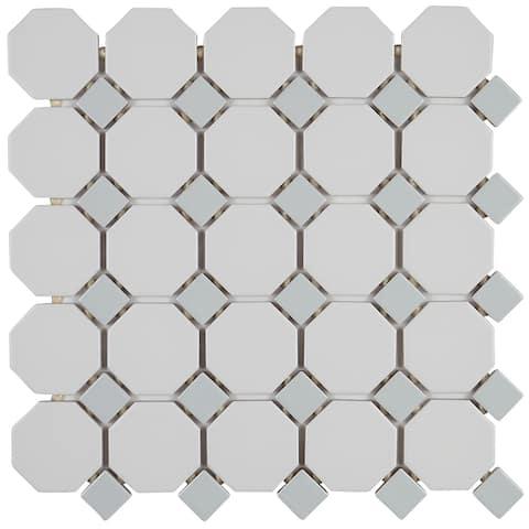 Grey Ceramic Mosaic Octagon Tiles on 12x12-inch Matte White Sheet - 12x12
