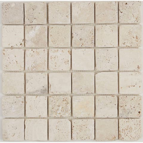 Select Travertine Stone 2x2-inch Tumbled Mosaic in Ivory Classico - 2x2