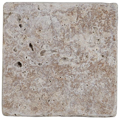 Select Travertine Stone 4x4-inch Tumbled in Light Noce - 4x4