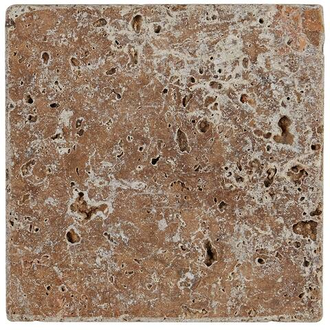 Select Travertine Stone 6x6-inch Tumbled in Light Noce - 6x6