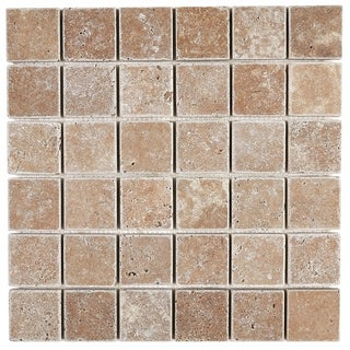 Select Travertine Stone 2x2-inch Tumbled Mosaic in Light Noce - 2x2