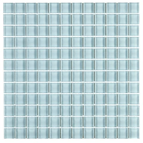 Glass Mosaic 1x1-inch Accent Tile in Classic Solid Whisper Green - 12x12