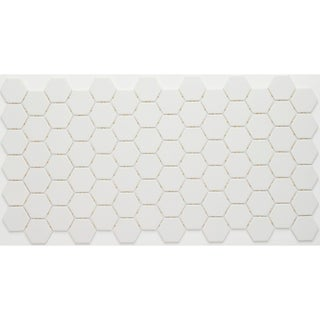 Porcelain 1-inch Hexagon Mosaic Tile in Arctic White - 12x24