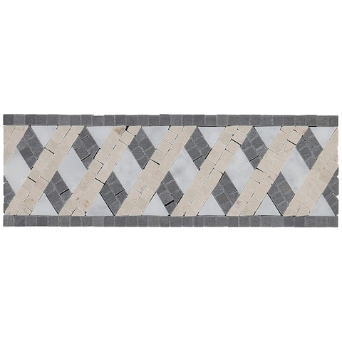 Complimentary Stone 4x12-inch Deco Accent Tile in Lattice Blend - 4x12