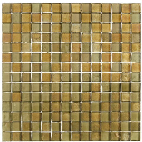 Shimmering Iridescent Glass Tile 3/4x3/4-inch Mosaic in Lagoon - 12x12