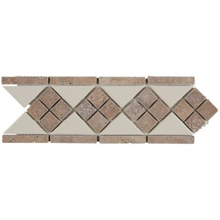 Complimentary Stone 4x12-inch Tumbled Listello Accent Tile in Almond and Noce - 4x12