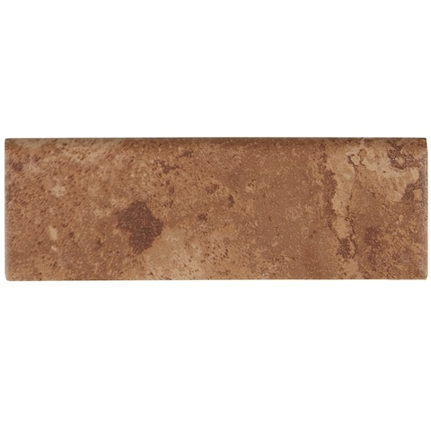 Rustic Style 2x6-inch Ceramic Bullnose 6-inch side in Edgewood - 2X6
