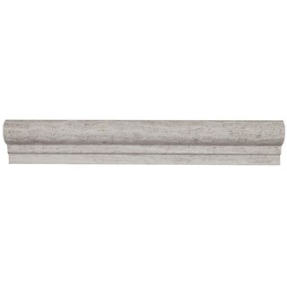 Limestone 2x12-inch Honed Vein Cut Chair Rail in Chenille White - 2x12