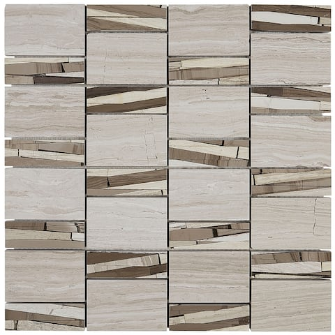 Limestone Polished Abstract Mosaic in Chenille White - 12x12