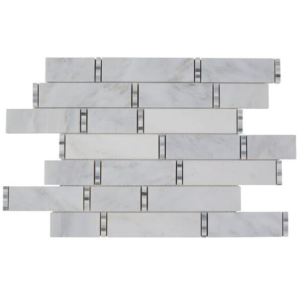 10sf Carrara White Marble Gray Glass Linear Mosaic Tile: Shop Marble Polished Random 3/8-inch Linear Mosaic In