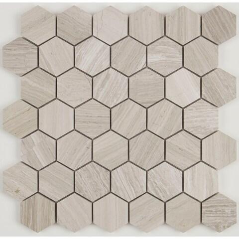 Limestone 2-inch Honed Hexagon Mosaic in Chenille White - 13x13