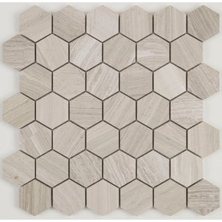 Limestone 2-inch Honed Hexagon Mosaic in Chenille White - 13x13