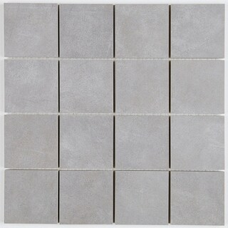 Porcelain Tile with a Concrete Visual 3x3-inch Mosaic Tile in Steel - 3x3