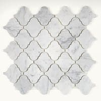 Marble Polished 3x3-inch Baroque Mosaic in Carrara White - 13x13