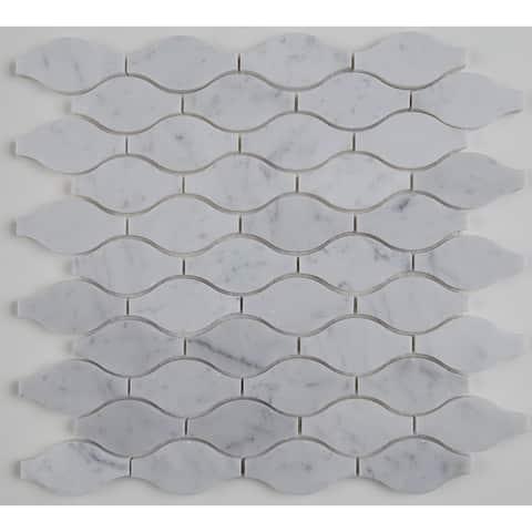 Marble 3x1 1/2-inch Polished Marquis Mosaic in Carrara White - 13.38x13.75