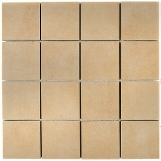 Porcelain Tile with a Concrete Visual 3x3-inch Mosaic Field Tile in Sand - 3x3