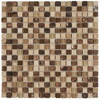 Radiant Stone & Glass Mosaic Tile 5/8x5/8-inch Morning Sun/Tortoise - 12x12