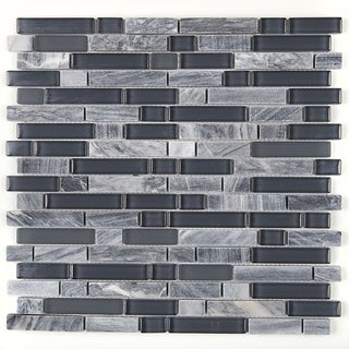 Radiant Stone & Glass Mosaic Tile 5/8-inch Random in Glacier Gray Marble - 12x13