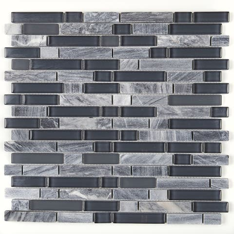 Radiant Stone & Glass Mosaic Tile 5/8-inch Random in Glacier Gray Marble - 12x13