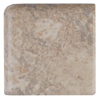 Travertine Replica 2x2-inch Ceramic Bullnose Corner 6-inch side in Dorian Grey - 2x2