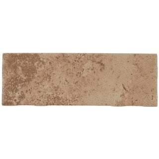 Travertine Replica 2x6-inch Ceramic Bullnose 6-inch side in Truffle Field - 2X6