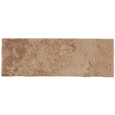 Travertine Replica 2x6-inch Ceramic Bullnose 6-inch side in Truffle Field - 2X6