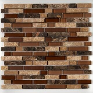 Radiant Stone & Glass Mosaic Tile 5/8-inch Random in Butternut Emperador - 12x13