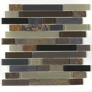 Slate and Glass Blend 1x Random Mosaic Tile in Flint - 12x12